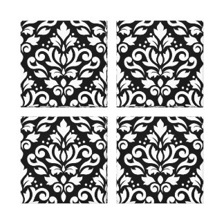 Scroll Damask Pattern White on Black Stretched Canvas Prints