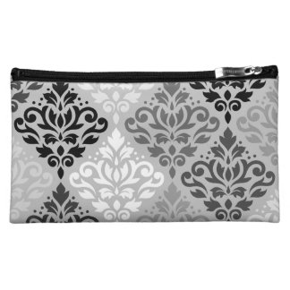 Scroll Damask Ptn Art BW & Grays Makeup Bag