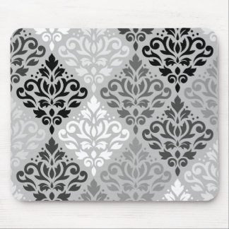 Scroll Damask Ptn Art BW & Grays Mouse Pad