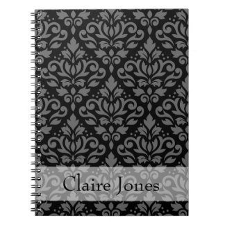 Scroll Damask Ptn Gray on Black (Personalized) Notebook