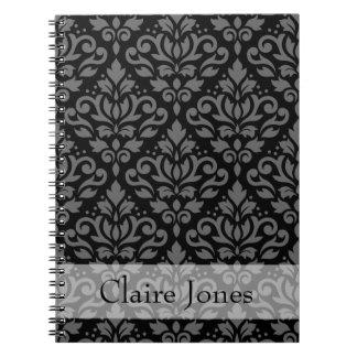 Scroll Damask Ptn Gray on Black (Personalized) Notebooks