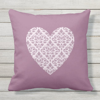 Scroll Damask Ptn Heart Mauve & Pink Outdoor Cushion