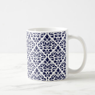 Scroll Damask Ptn Navy Blue on White Coffee Mug