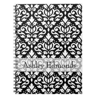 Scroll Damask Ptn White on Black (Personalized) Notebook