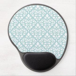 Scroll Damask Ptn White on Duck Egg Blue (B) Gel Mouse Pad