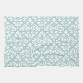 Scroll Damask Ptn White on Duck Egg Blue (B) Tea Towel