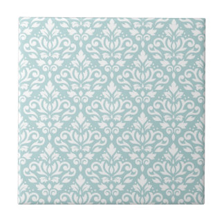 Scroll Damask Ptn White on Duck Egg Blue (B) Tile