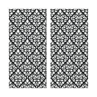 Scroll Damask Repeat Pattern White on Black Stretched Canvas Print