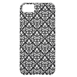 Scroll Damask Repeat Pattern White on Black Cover For iPhone 5C