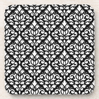 Scroll Damask Repeat Pattern White on Black Coaster