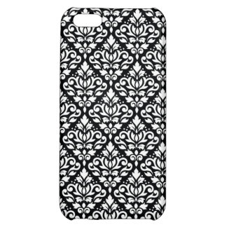 Scroll Damask Repeat Pattern White on Black iPhone 5C Covers