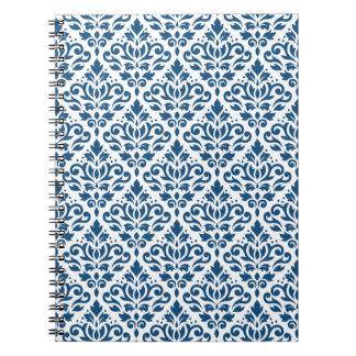Scroll Damask Rpt Ptn Dk Blue on White Notebook