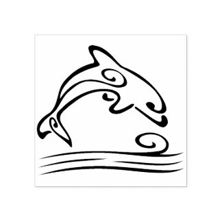 scroll dolphin art stamp
