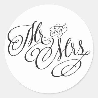 Scroll Font Mr. and Mrs. Wedding Sticker