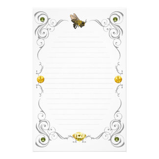 Scroll Honey Bee Lined Stationery Paper