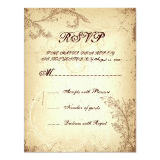Scroll leaf beige brown vintage wedding RSVP card