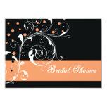 Scroll leaf black coral wedding bridal shower personalised announcements