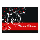 Scroll leaf black, red wedding bridal shower card