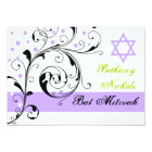 Scroll leaf black, white, purple & Star of David Card