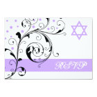 Scroll leaf white purple & Star of David RSVP Card