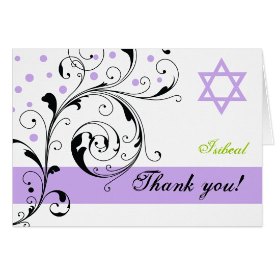 Scroll leaf white purple & Star of David Thank You Card