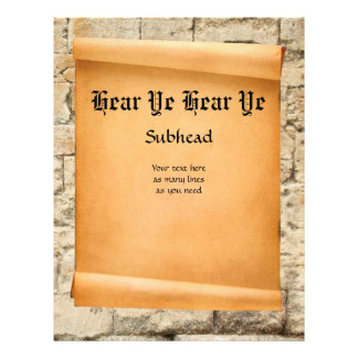 Scroll on stone wall medieval proclamation flyer