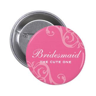 Scroll pink wedding name tag badge pin button