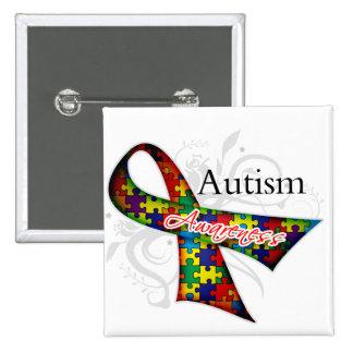 Scroll Ribbon - Autism Awareness Pinback Button