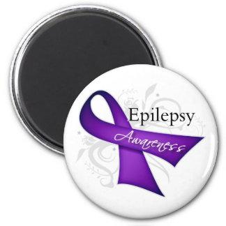 Scroll Ribbon - Epilepsy Awareness 6 Cm Round Magnet