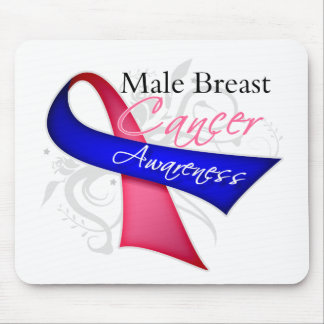 Scroll Ribbon Male Breast Cancer Awareness Mouse Pad