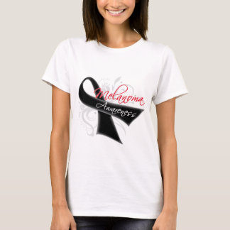 Scroll Ribbon Melanoma Awareness T-Shirt