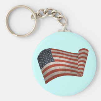 Scrolled Flag Basic Round Button Key Ring