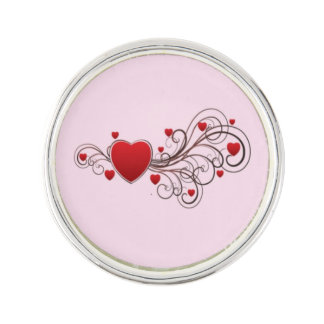 Scrolled Hearts kash003 Lapel Pin