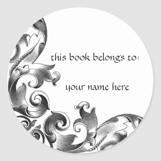 Scrolled Leaves Gothic Library Sticker