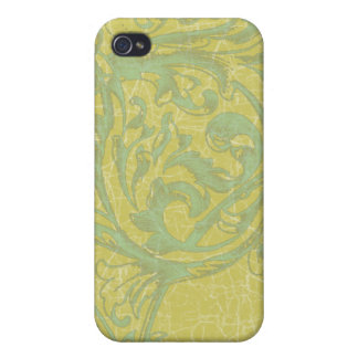 Scrolling Acanthus Turquoise & Gold Apple iphone C Case For iPhone 4