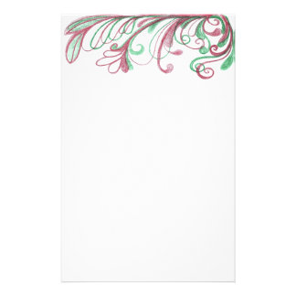 Scrolling Christmas Doodle Personalized Stationery