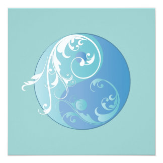Scrolling Yin & Yang (Earth blues) Card