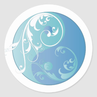 Scrolling Yin & Yang (Earth blues) Classic Round Sticker