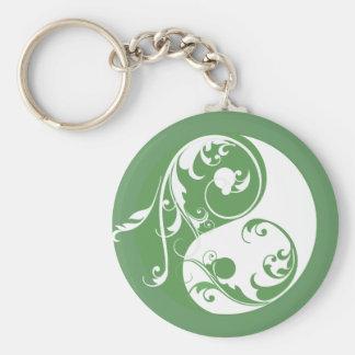 Scrolling Yin & Yang (green) Key Ring