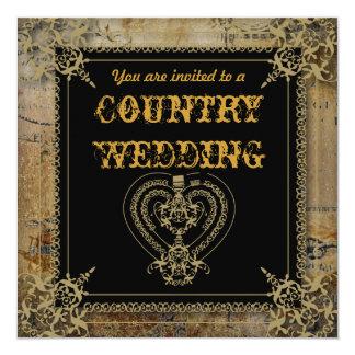 Scrolls rustic country western saloon wedding card