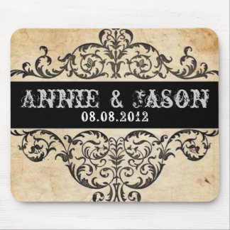 Scrolls rustic country western saloon wedding mouse pad
