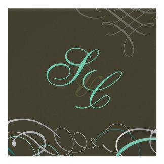 Scrolls/swooshes/Something Blue Invitation
