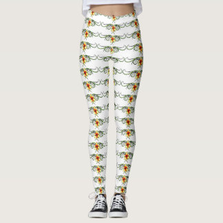 scrolly yellow flowers leggings