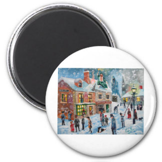 Scrooge A Christmas Carol winter snow scene ghosts 6 Cm Round Magnet