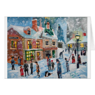 Scrooge A Christmas Carol winter snow scene ghosts Greeting Card