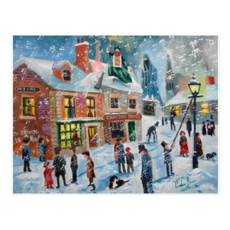 Scrooge A Christmas Carol winter snow scene ghosts Postcard