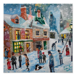 Scrooge A Christmas Carol winter snow scene ghosts Poster