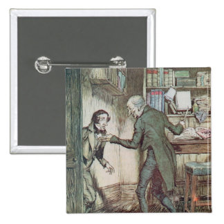 Scrooge and Bob Cratchit 15 Cm Square Badge