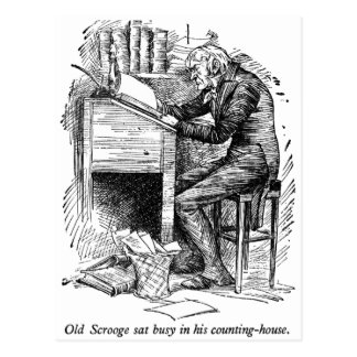 Scrooge at His Desk (with text) Postcard
