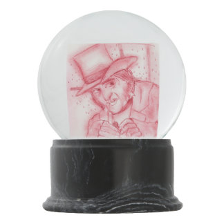 Scrooge in Red Snow Globes